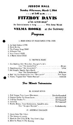 "Fitzroy Davis in ""an actor sings"""