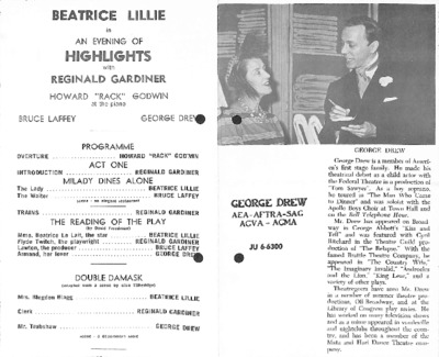Beatrice Lillie in an evening of highlights with Reginald Gardiner
