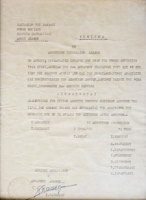 Ψήφισμα στο οποίο το Διοικητικό Συμβούλιο του Δήμου Δελφών ανακηρύσσει τον Δημήτρη Ροντήρη ως επίτιμο δημότη